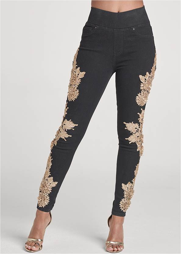 Waist down front view Floral Embellished Jeggings