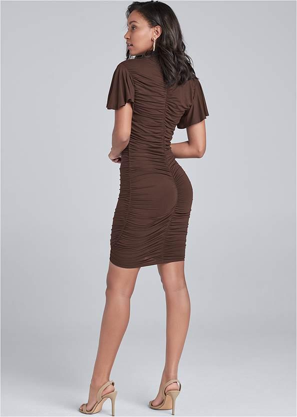 Back View Ruched Mock Neck Dress