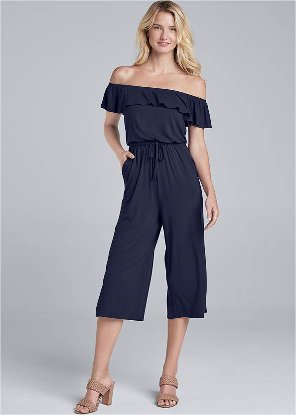 Off-The-Shoulder Jumpsuit,Braided Double Strap Mules,Hammered Fringe Earrings