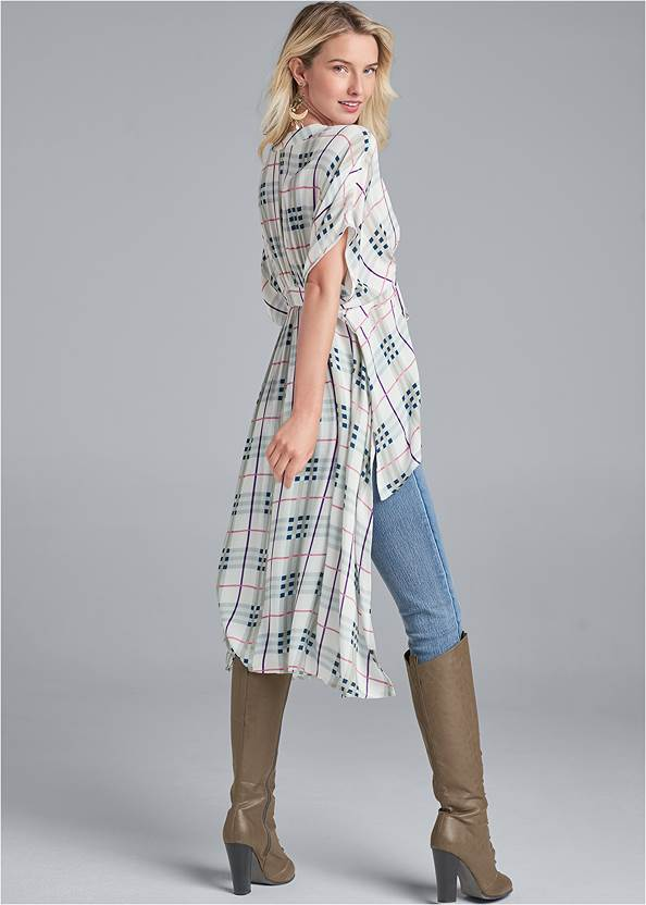Back View High-Low Plaid Top
