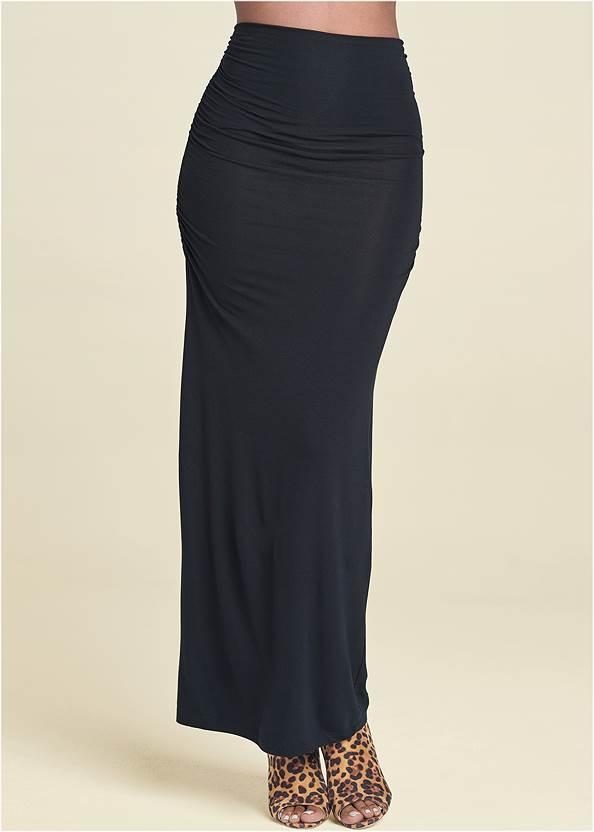 Front View Gathered Waist Long Skirt