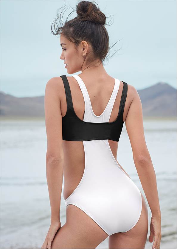 Cropped back view Sports Illustrated Swim™ Sporty High Neck Monokini