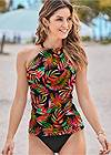 Full front view Ruched Side Halter Tankini Top