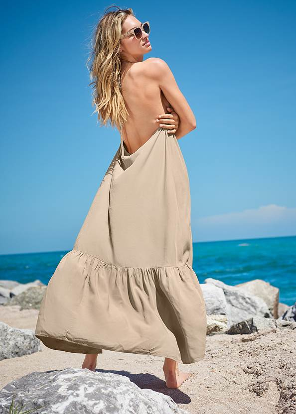 Back View Sports Illustrated Swim™ Flowing Maxi Dress