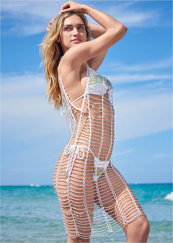 Full front view Sports Illustrated Swim™ Windowpane Cover-Up Dress
