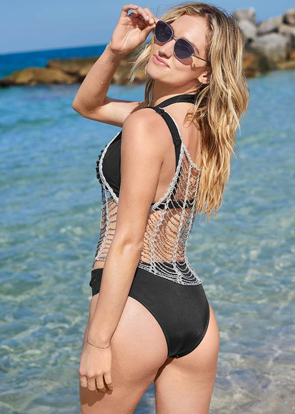 Back View Sports Illustrated Swim™ Windowpane Crop Top