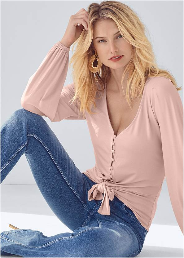 Tie Front Button Up Top,Mid Rise Color Skinny Jeans,Bum Lifter Jeans,Jean Jacket,Cropped Puff Sleeve Denim Jacket,Pearl By Venus® Perfect Coverage Bra,Knotted Slouchy Boots,Faux Suede Layer Necklace