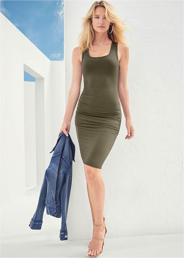Sleeveless Ruched Bodycon Midi Dress,Jean Jacket,Pearl™ By Venus Strappy Plunge Bra,Confidence Shaping Romper,Confidence Seamless Dress,Knotted Slouchy Boots,High Heel Strappy Sandals,Beaded Drop Earrings,Twist Handle Satchel Bag