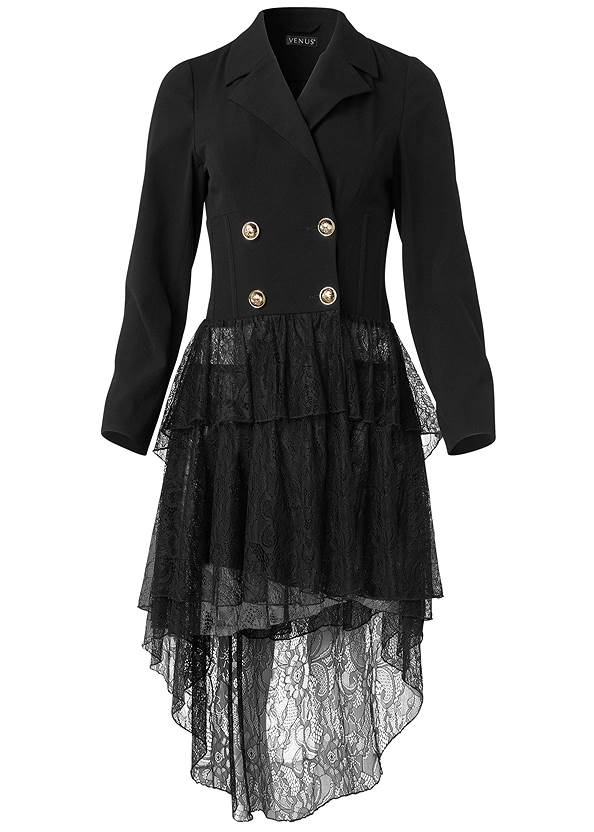 Alternate View High-Low Lace Train Jacket