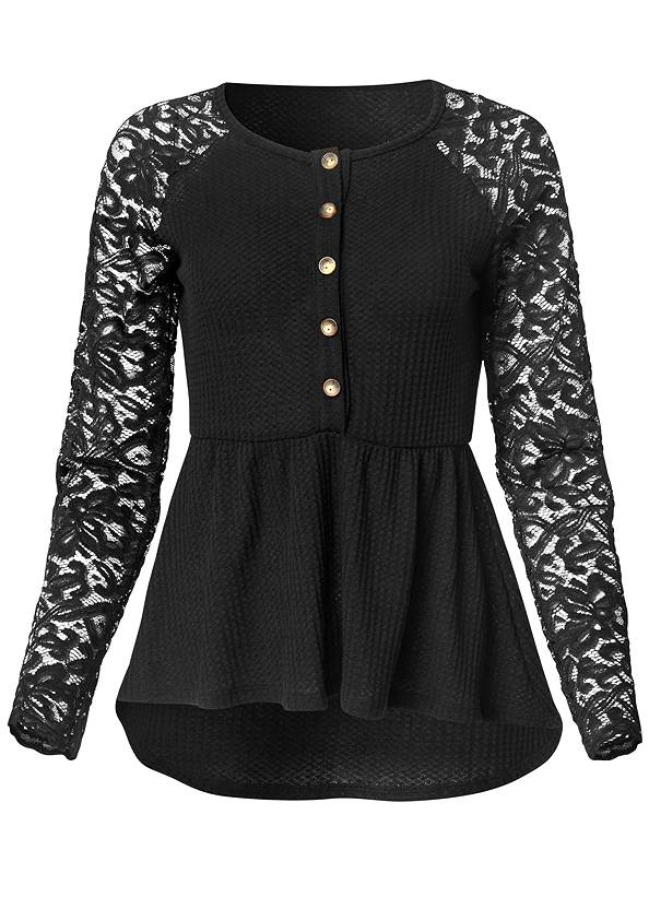 Alternate View Waffle And Lace Peplum Top