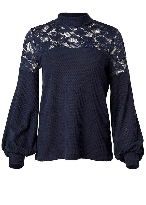 Alternate View Waffle Mock Neck Lace Top