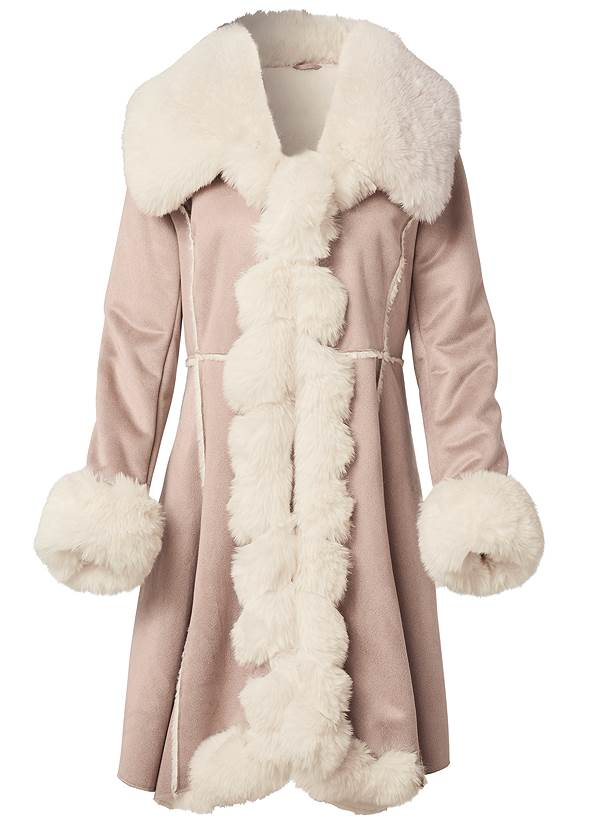 Alternate View Faux Suede And Fur Coat