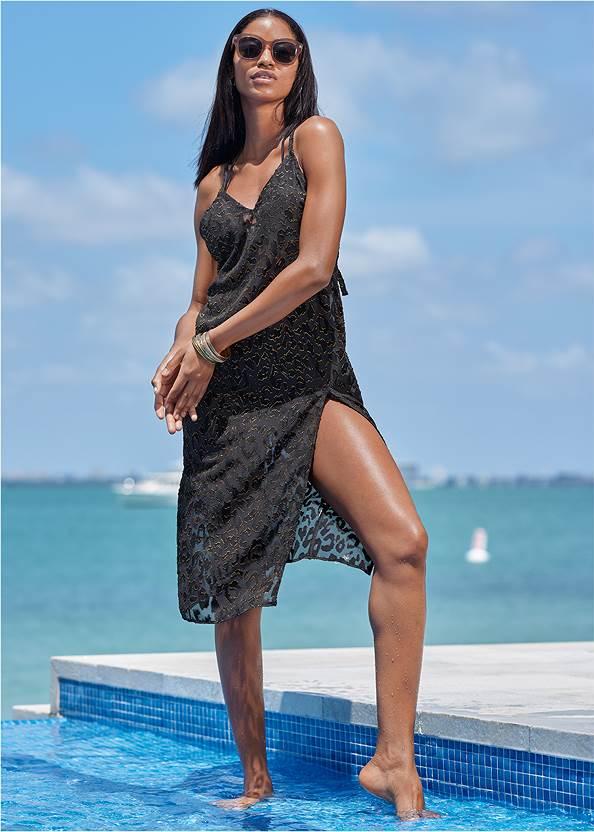 Glitter Slip Midi Cover-Up,Triangle String Bikini Top,Mid Rise Hipster Classic Bikini Bottom,Versatility By Venus™ Reversible Monokini,Rhinestone Crochet Mini Bag