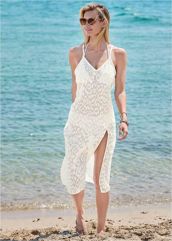Glitter Slip Midi Cover-Up,Triangle String Bikini Top,Mid Rise Hipster Classic Bikini Bottom,Mesh Tank One-Piece,Double Strap Printed Sandal