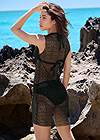 Cropped Back View Allover Crochet Cover-Up