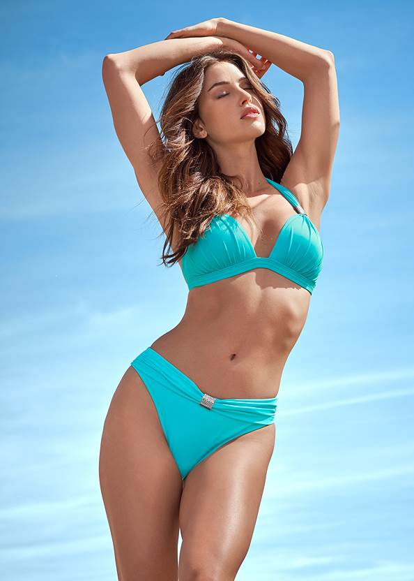 Goddess Enhancer Push Up Halter Top,Goddess Mid Rise Bottom,Goddess Low Rise Bottom,Low Rise Classic Bikini Bottom ,Scoop Front Classic Bikini Bottom