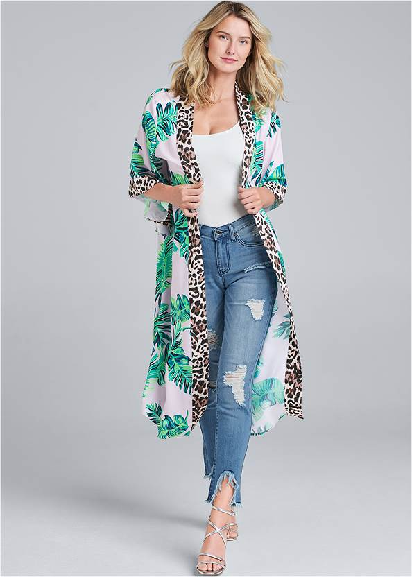 Palm Print Duster,Basic Cami Two Pack,Color Capri Jeans,Ankle Strap Cork Heels