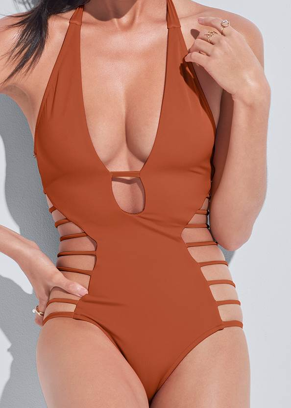 Detail front view Sports Illustrated Swim™ Strappy One-Piece