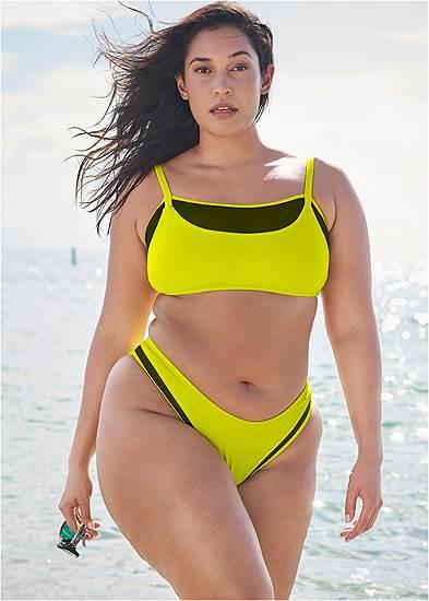 Plus Size Sports Illustrated Swim™ Mesh Scoop High Leg Bottom