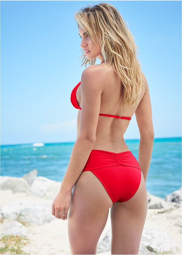 Back View Sports Illustrated Swim™ High Leg Ruched Bottom