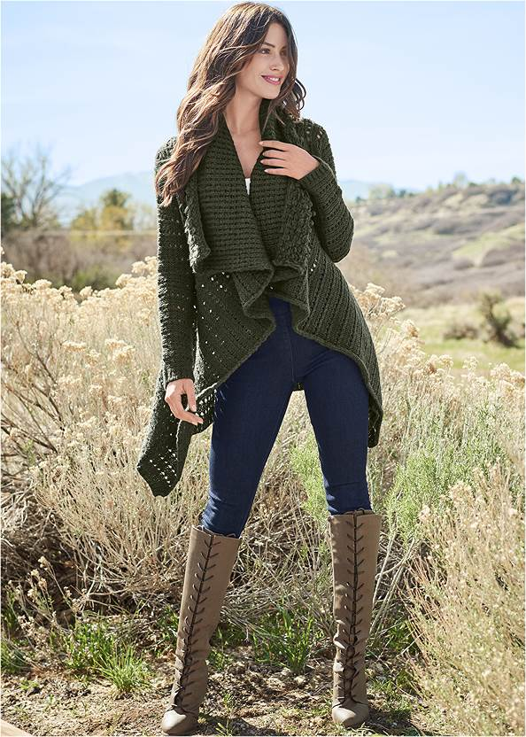 Mid Rise Slimming Stretch Jeggings,Off-The-Shoulder Top,Ribbed Henley Top,Basic Cami Two Pack,Open Knit Cardigan,Mid Rise Color Skinny Jeans,Lace Up Tall Boots,Tiger Detail Earrings,Strap Detail Lounge Top,Rhinestone Net Sneakers,Gold Coin Faux Leather Hat