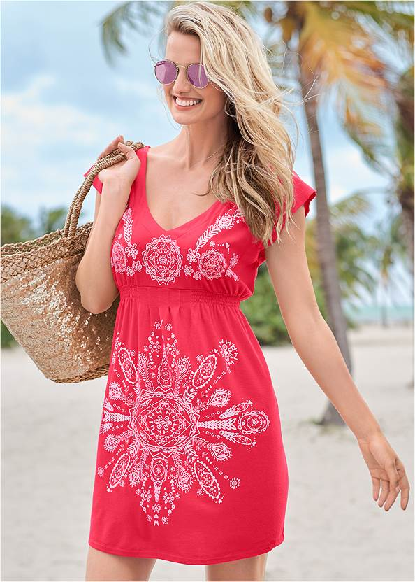 Print Dress,Triangle String Bikini Top,String Side Bikini Bottom,Crisscross One-Piece