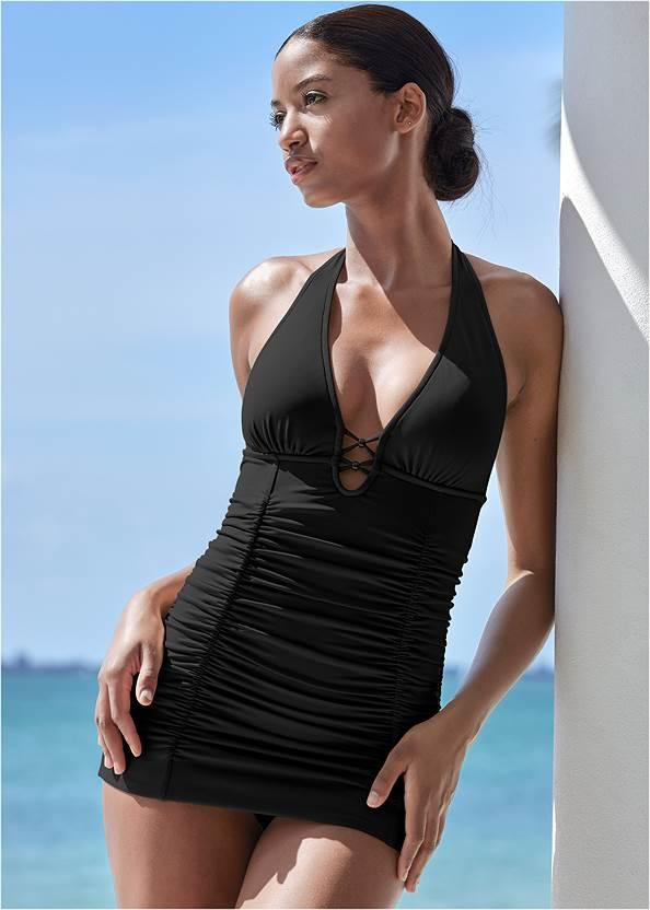 Cali Swim Dress,Crochet Detail Cover-Up,Side Split Beach Pant,Rhinestone Flip-Flop Sandals,Convertible Straw Tote Bag