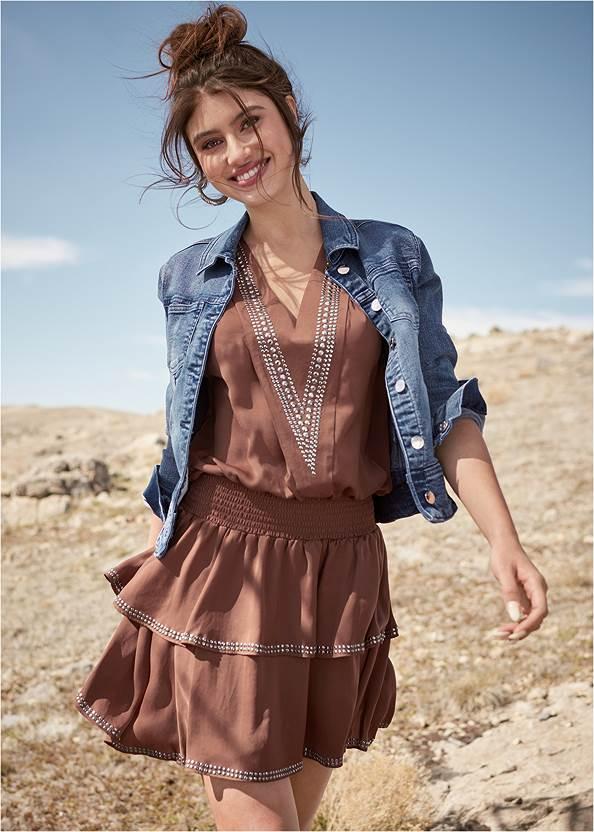 Embellished Detail Mini Dress,Jean Jacket,Whipstitch Peep Toe Booties,Etched Boho Hoop Earrings,Chevron Fringe Crossbody