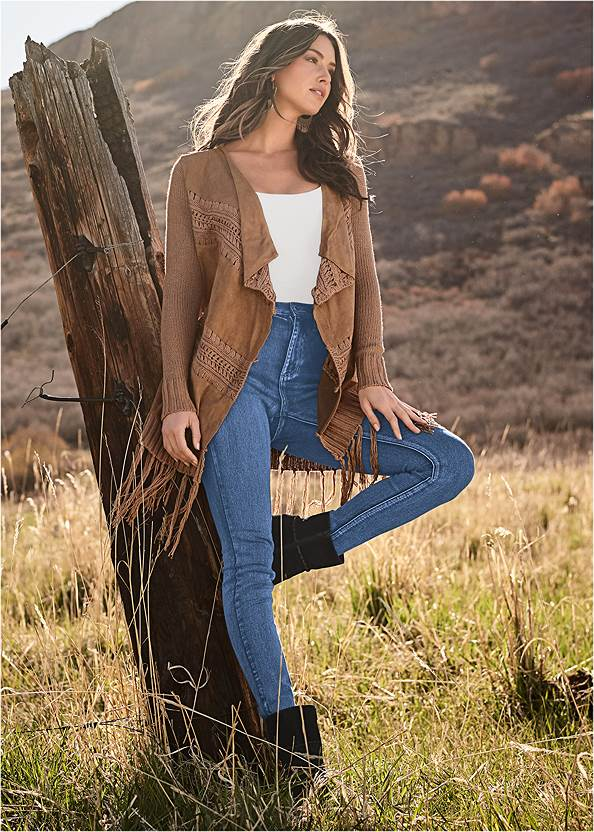 Faux Suede Fringe Cardigan,Basic Cami Two Pack,Mid Rise Color Skinny Jeans,Studded Over The Knee Boots,Bum Lifter Jeans,Mixed Earring Set,Whipstitch Peep Toe Booties