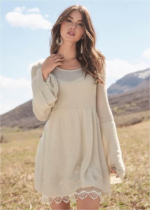 Boho Sweater Dress,Beaded Drop Earrings