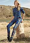 Full front view Embroidered Denim Jumpsuit