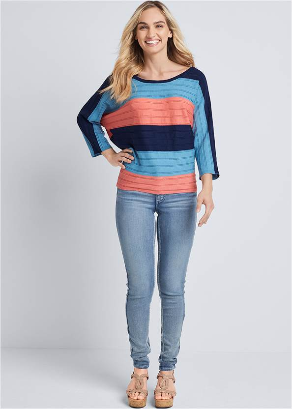 Full front view Striped Dolman Sweater