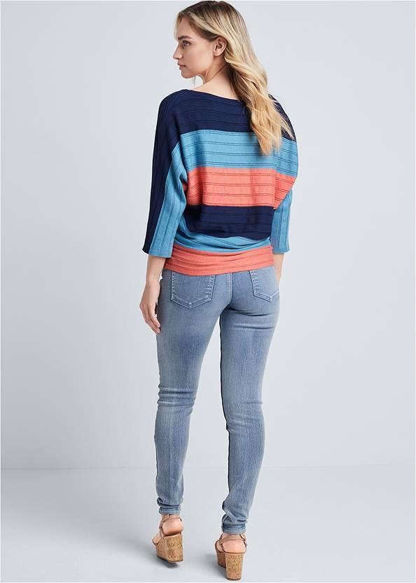 Full back view Striped Dolman Sweater