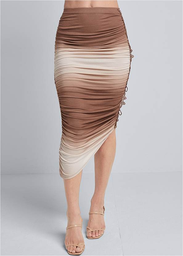 Front View Ombre Midi Skirt With Lace