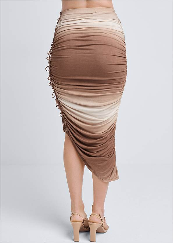 Waist down back view Ombre Midi Skirt With Lace