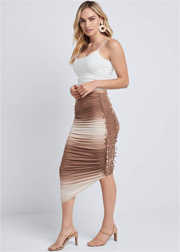 Ombre Midi Skirt With Lace