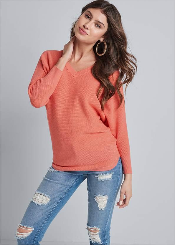 V Neck Raglan Sweater