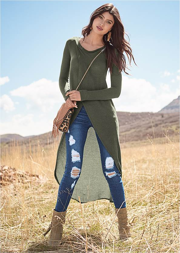 Casual High Low Top,Ripped Skinny Jeans,Basic Leggings,Lace Up Tall Boots,Beaded Drop Earrings,Knotted Slouchy Boots,Mixed Earring Set,Leopard Fringe Crossbody