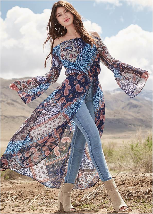 Off-The-Shoulder Maxi Top,Mid Rise Color Skinny Jeans,Pearl™ By Venus Strapless Bra,Whipstitch Peep Toe Booties,Boho Chandelier Earrings