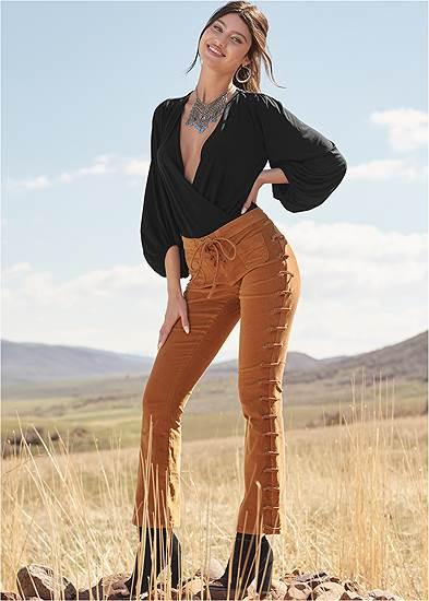 Lace Up Corduroy Pants