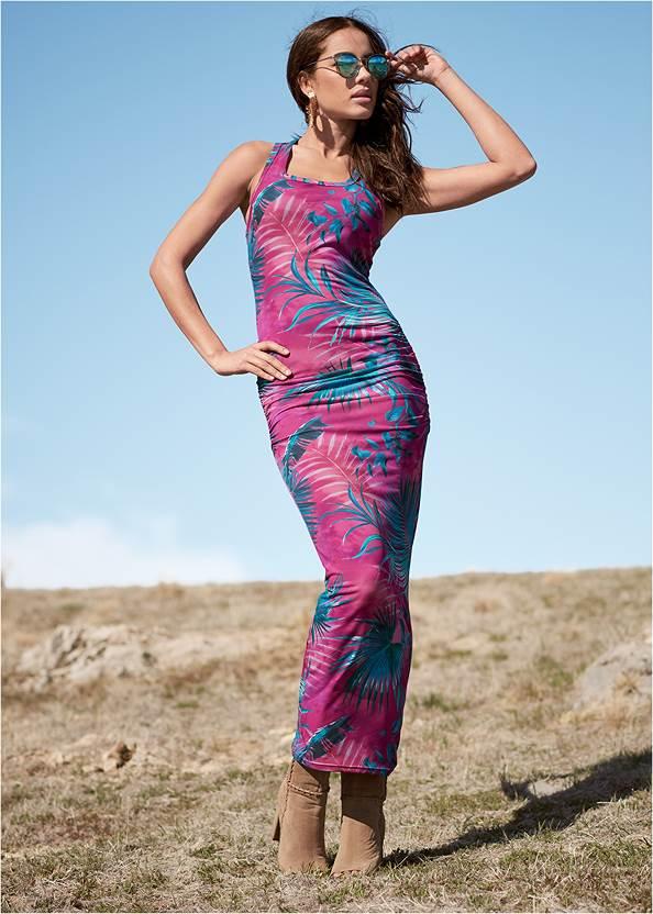Palm Print Maxi Dress,Whipstitch Peep Toe Booties,Braided Double Strap Mules,Mixed Earring Set,Chevron Fringe Crossbody