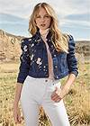 Cropped front view Embroidered Jean Jacket