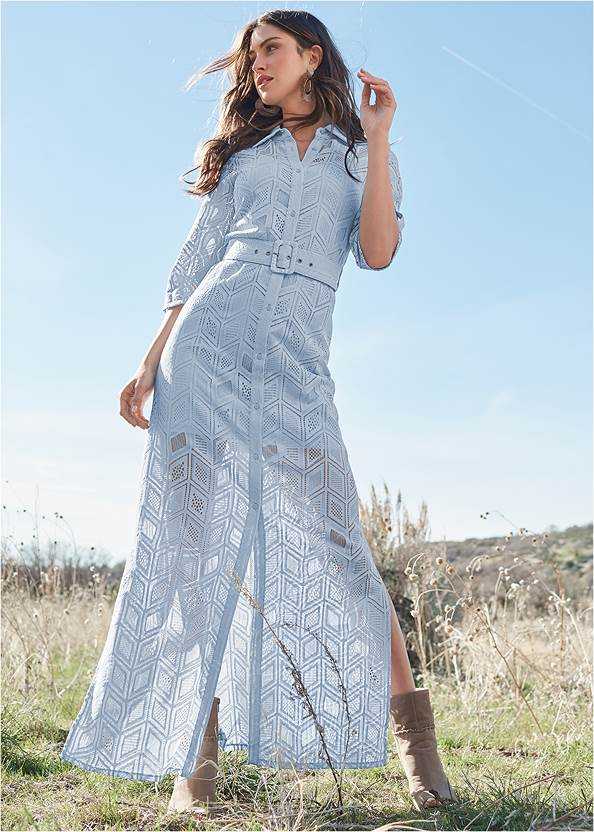 Lace Button Down Maxi Dress,Whipstitch Peep Toe Booties,Braided Double Strap Mules,Mixed Earring Set,Boho Chandelier Earrings