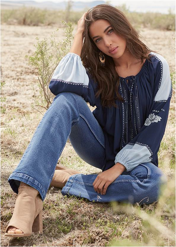 Embroidered Peasant Top,Casual Bootcut Jeans,Mid Rise Color Skinny Jeans,Whipstitch Peep Toe Booties,Boho Chandelier Earrings,Raffia Hoop Earring Set