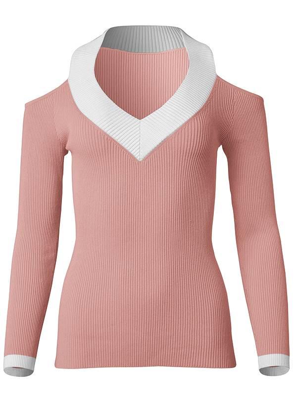 Alternate View Ribbed Cold Shoulder V Neck Sweater