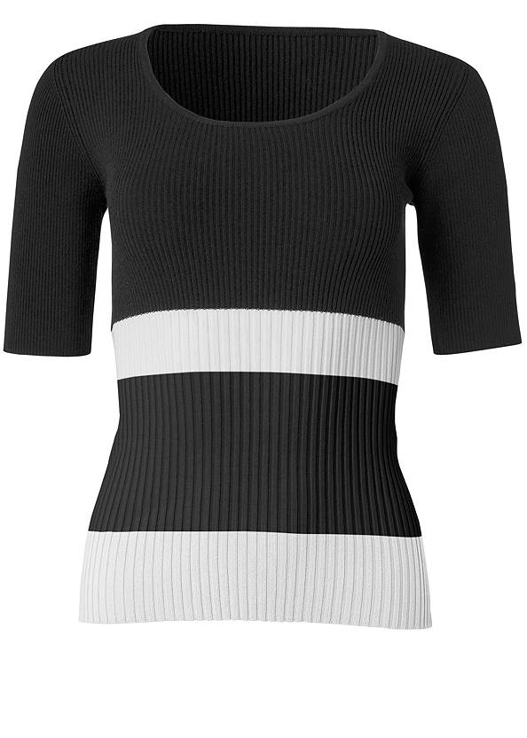 Alternate View Ribbed Short Sleeve Sweater