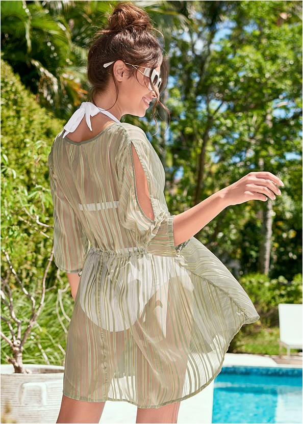 Back View Glitter Lurex Coverup Dress