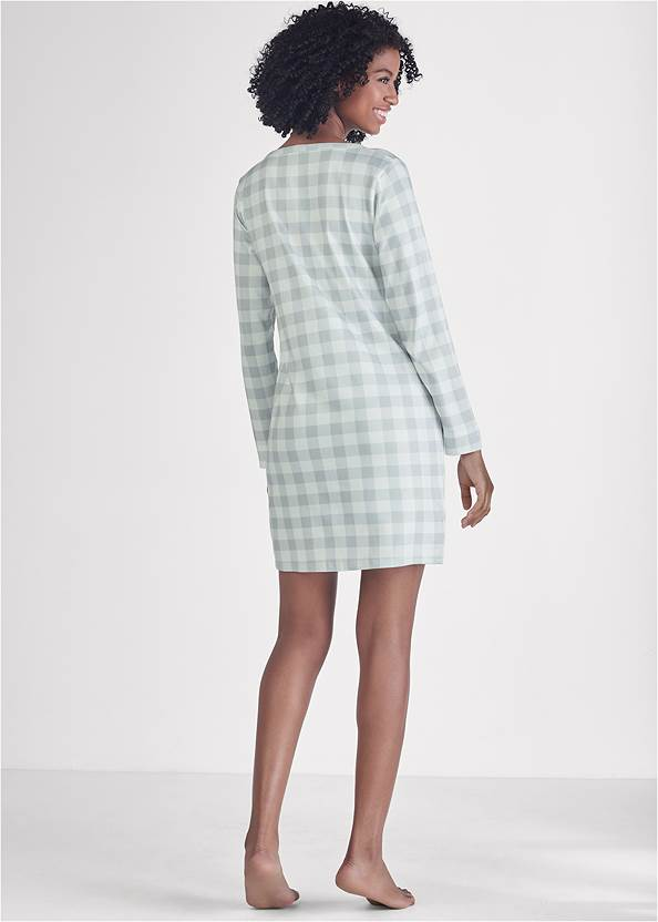 Full back view Henley Pullover Nightshirt