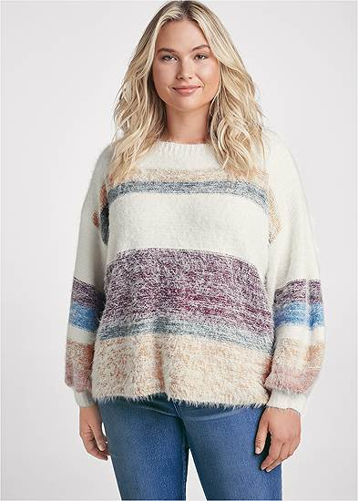Plus Size Striped Eyelash Sweater