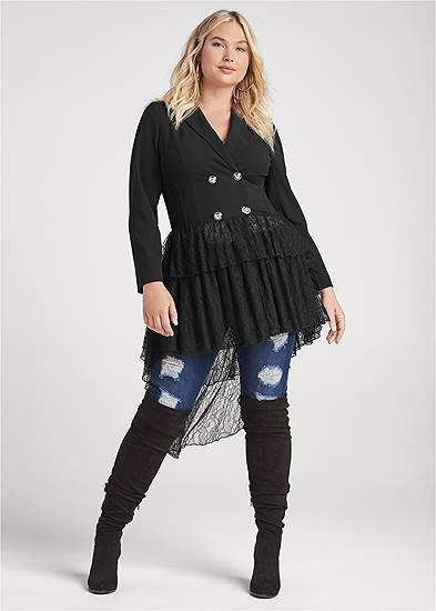 Plus Size High-Low Lace Train Jacket